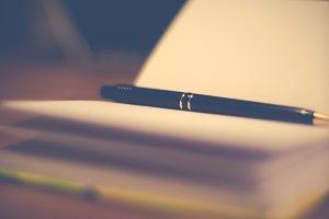 Elegant pen and notebook