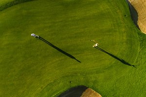 Aerial view of golfers playing