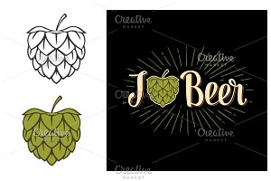 Hop in form of heart and calligraphy lettering I Beer
