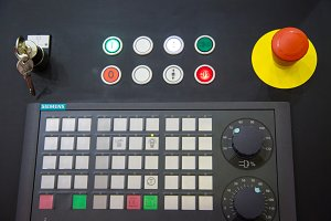 Control panel with buttons and key