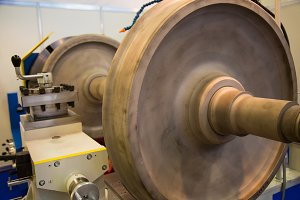 Lathe and large part