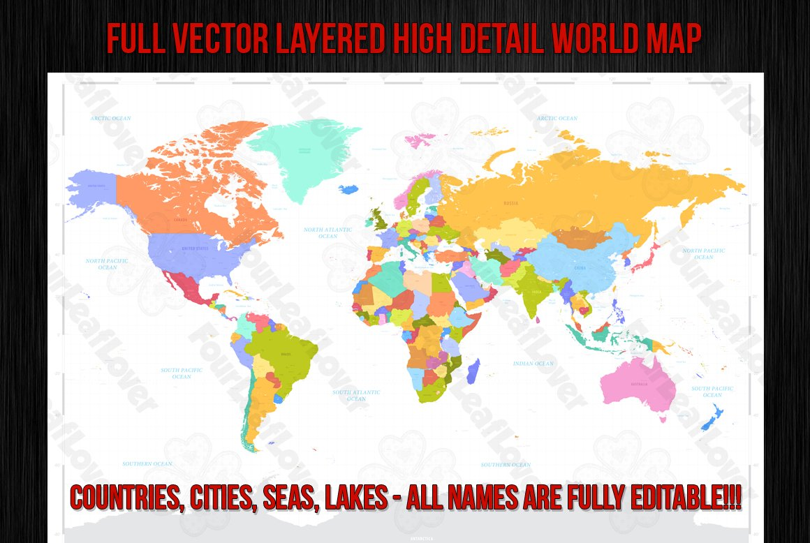 Vector high detail world map illustrations creative market vector colorful world map gumiabroncs Images
