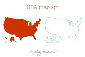 USA & 50 states maps bundle