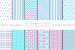 Lilac and Aqua Background Papers