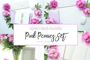 Pink Peonies and Planner Stock Set