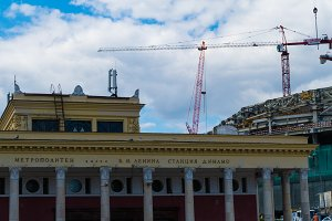Reconstruction of the Dynamo Stadium in Moscow, cranes