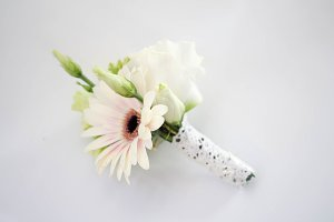 Boutonniere. Flowers of the groom