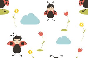Lady bird cartoon seamless pattern.