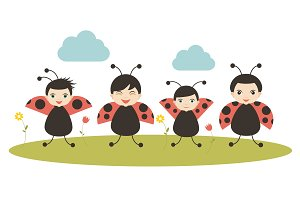 Four cartoon ladybirds