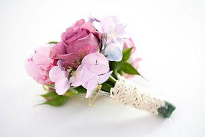 Boutonniere. Hydrangea and peonies