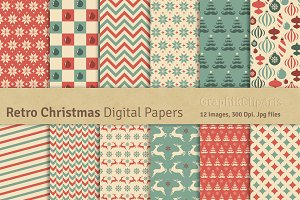 Retro Christmas Digital Papers