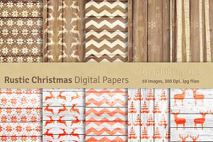 Rustic Christmas Digital Papers
