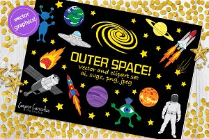 Outer space vector clipart set