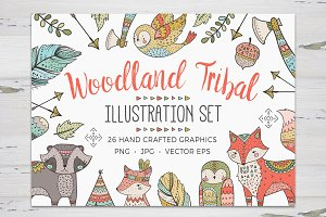 Woodland Tribal Illustration Set