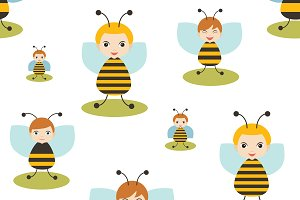Bee cartoon seamless pattern.