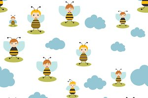 Bee cartoon seamless pattern