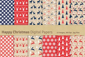 Happy Christmas Digital Papers