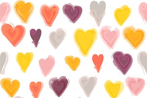 Water painted heart seamless pattern