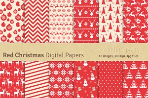 Red Christmas Digital Papers