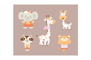 Funny cartoon zoo and greeting cards