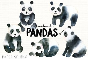 Watercolor Pandas Pack