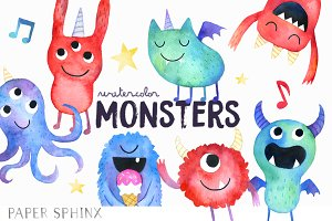Watercolor Monster Art Pack