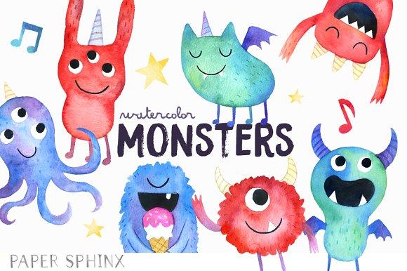 Watercolor Monster Art Pack