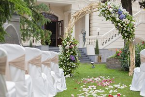 Beautiful wedding gazebo with flower