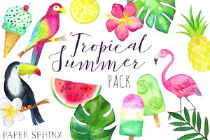 Watercolor Tropical Clipart Pack
