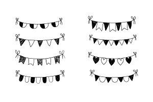 Doodle buntings clip art set