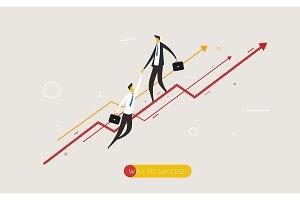 Businessman climbing graph, help.