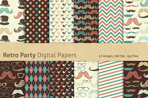 Retro Party Digital Papers