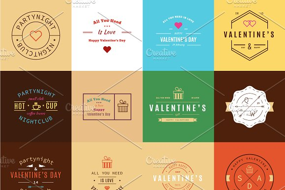 Happy Valentine's Day. Trendy Retro - Logos
