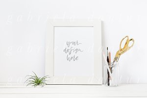 Craft Scissors White Frame Mockup