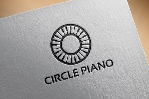 Simple Circle Piano Logo Template