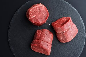 Fresh raw Tenderloin beef steaks