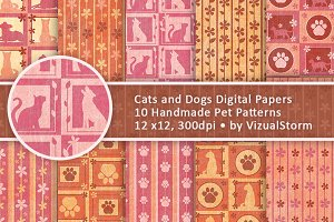 Cats and Dogs Floral Pet Patterns