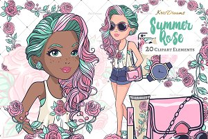 Summer Rose Clipart Set