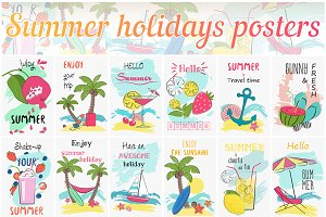 Summer holidays poster cards set
