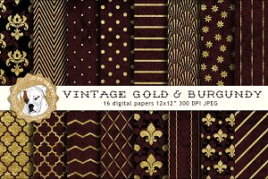 Gold and Burgundy Digital Paper