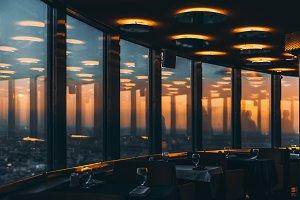 Restaurant interior during sunset