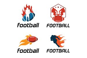 4 American Football on Fire Logo