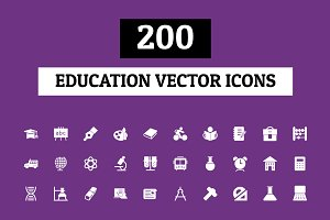 200 Education Vector Icons