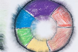 Color wheel with pastel pencils
