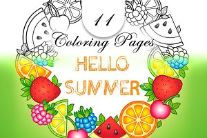 Hello Summer. Set Of Coloring Pages