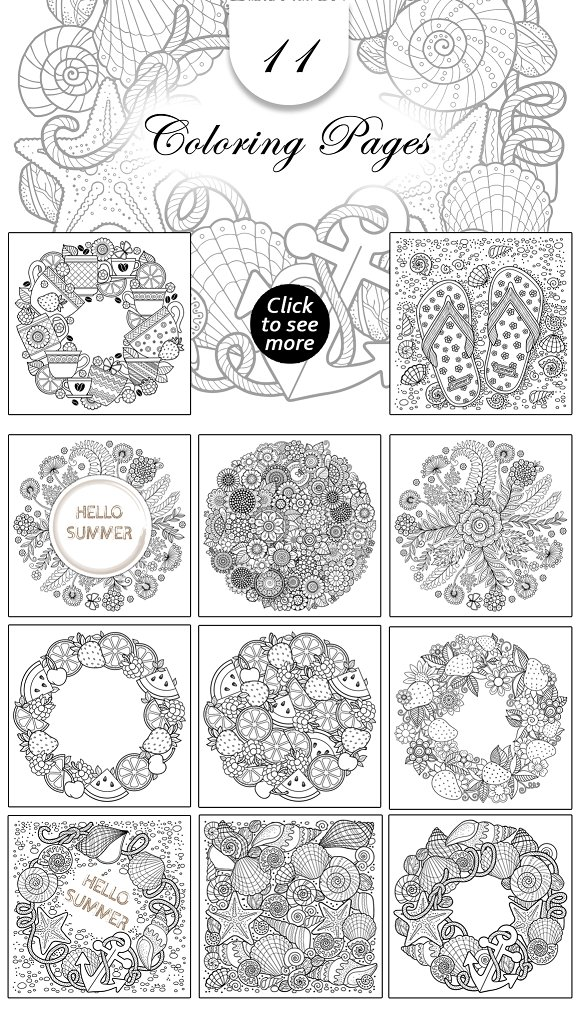 Hello Summer  Set Of Coloring Pages