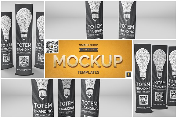 Download Elliptical Totem Display Mockup