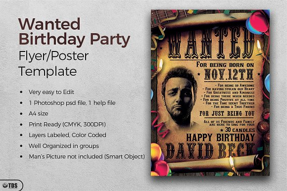 Wanted Birthday Party Flyer Template Flyer Templates Creative Market