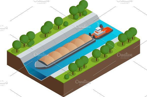 Isometric Barge On A River Very Large Ship Containerized Trade Liquid Bulk And Dry Bulk Shipping International Shipping