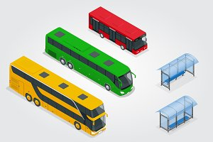 Isometric Double Decker Bus, City public bus and bus stop with blank surface for your creative design. Road vehicle designed to carry many passengers.